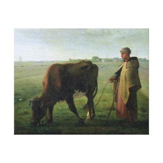Mujer que pasta su vaca, 1858 impresión en lienzo