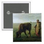 Mujer que pasta su vaca, 1858 pin cuadrado