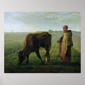 Mujer que pasta su vaca, 1858 póster
