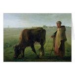 Mujer que pasta su vaca, 1858 tarjeta de felicitación