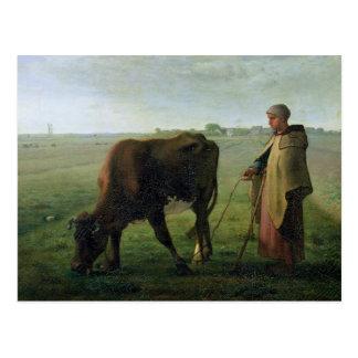 Mujer que pasta su vaca, 1858 postal