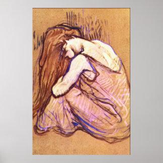 Mujer que peina el pelo por Toulouse-Lautrec Poster
