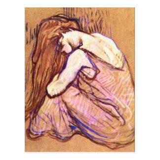 Mujer que peina el pelo por Toulouse-Lautrec Postal