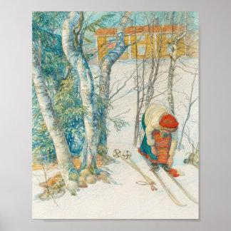 Mujer que pone en los esquís - Skidloperskan Póster