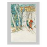 Mujer que pone en los esquís - Skidloperskan Postal