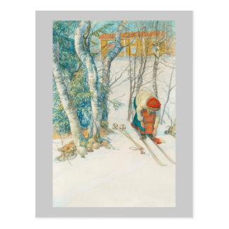 Mujer que pone en los esquís - Skidloperskan Tarjeta Postal