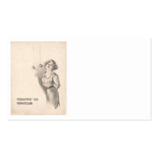 Mujer que se menea para las manzanas blancos y neg tarjetas de visita