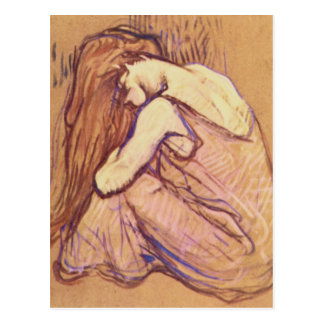 Mujer que se peina el pelo de Enrique de Toulouse- Tarjeta Postal