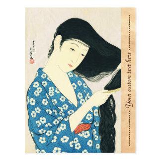 Mujer que se peina el pelo Hashiguchi Goyo Tarjetas Postales