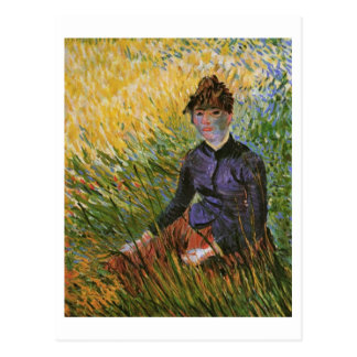 Mujer que se sienta en la bella arte de Van Gogh Tarjeta Postal