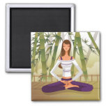 Mujer que se sienta en la posición de loto, medita iman
