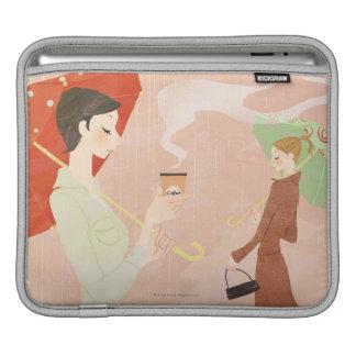 Mujer que sostiene el café manga de iPad