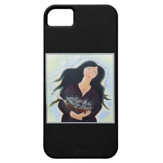 Mujer que sostiene pescados en un cuenco. En negro iPhone 5 Case-Mate Cobertura