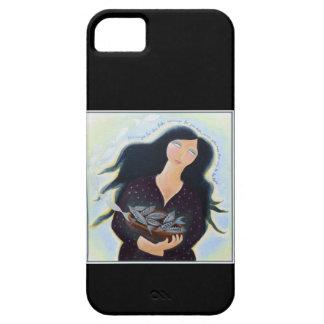 Mujer que sostiene pescados en un cuenco. En negro Funda Para iPhone SE/5/5s