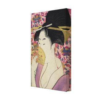 Mujer que sostiene un peine, Kitagawa Utamaro Lona Envuelta Para Galerias