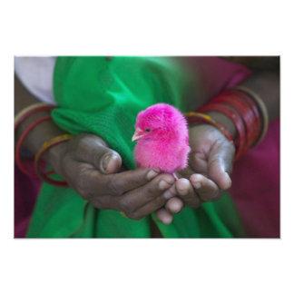 Mujer que sostiene un pequeño polluelo pintado con cojinete