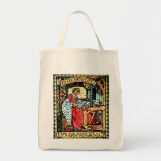 Mujer que teje bolsa tela para la compra