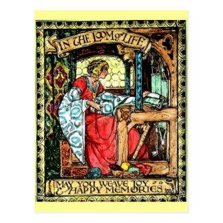 Mujer que teje postales