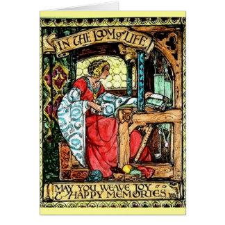 Mujer que teje tarjeta de felicitación