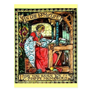 Mujer que teje postal