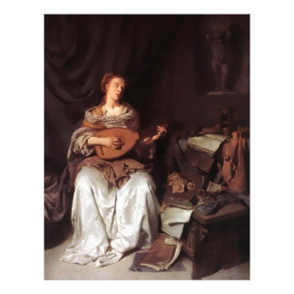 Mujer que toca el instrumento de música del laúd m