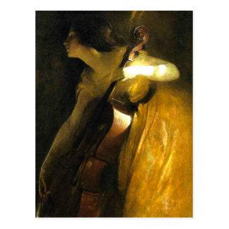 Mujer que toca el violoncelo postales