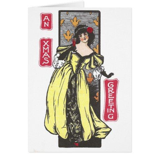 Mujer que tuesta la antigüedad del navidad tarjeta