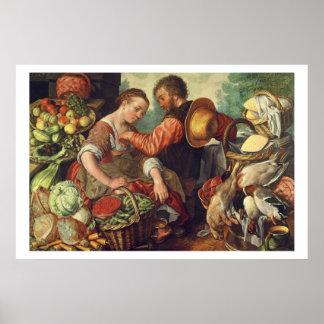 Mujer que vende las verduras 1567 aceite en lona posters