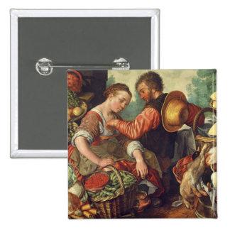 Mujer que vende las verduras, 1567 (aceite en lona pin cuadrada 5 cm