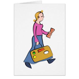 Mujer que viaja tarjeta de felicitación