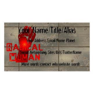 Mujer radical tarjetas de visita