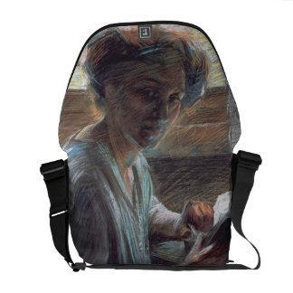 Mujer Reading, 1909 (aceite en lona) Bolsas De Mensajería