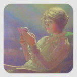 Mujer Reading, 1921 Pegatinas Cuadradas Personalizadas