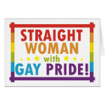 Mujer recta con orgullo gay felicitacion