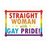 Mujer recta con orgullo gay postal
