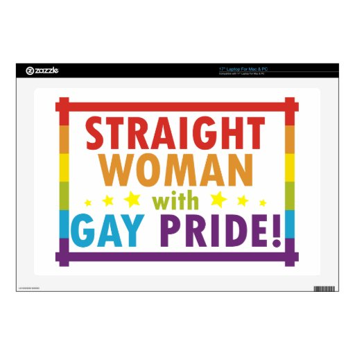 Mujer recta con orgullo gay calcomanía para 43,2cm portátil