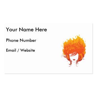 Mujer Redheaded, pelo del fuego rojo Tarjetas De Visita