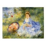 Mujer Renoir-Joven de Pedro con un paraguas japoné Tarjeta Postal