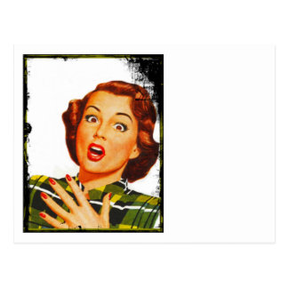 Mujer retra con la expresión sorprendida postales