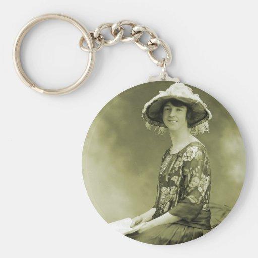 Mujer retra de la foto de la sepia de las mujeres  llaveros personalizados