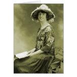 Mujer retra de la foto de la sepia de las mujeres  tarjeton