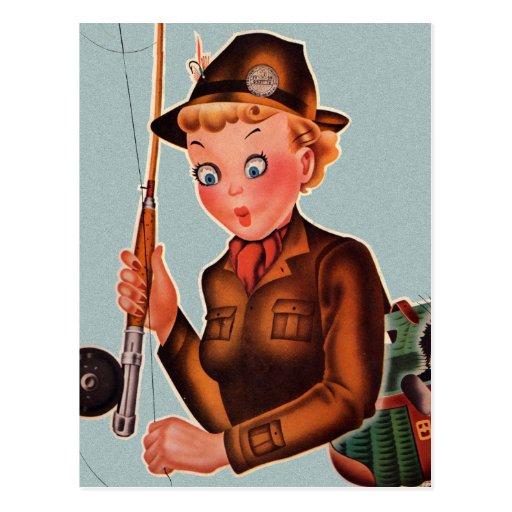 Mujer retra de la pesca de vuelo de las mujeres postales