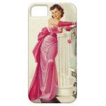 Mujer retra de los años 50 con los rosas iPhone 5 Case-Mate protectores