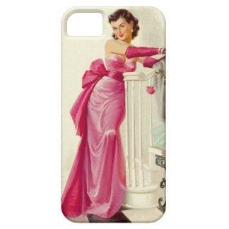 Mujer retra de los años 50 con los rosas funda para iPhone SE/5/5s