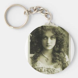 Mujer retra del retrato 20s de la sepia de las muj llavero personalizado