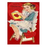 Mujer retra del vintage que cocina la tarjeta de l tarjetas postales