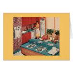 Mujer retra en cocina tarjeta de felicitación
