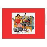 Mujer retra en cocina tarjeta pequeña