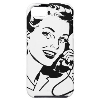 Mujer retra en el teléfono funda para iPhone 5 tough