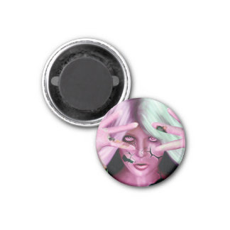 Mujer robótica imán redondo 3 cm